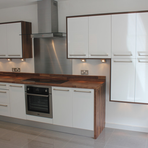 white gloss kitchen with walnut worktop previous kitchen projects hallmark kitchen designs 431