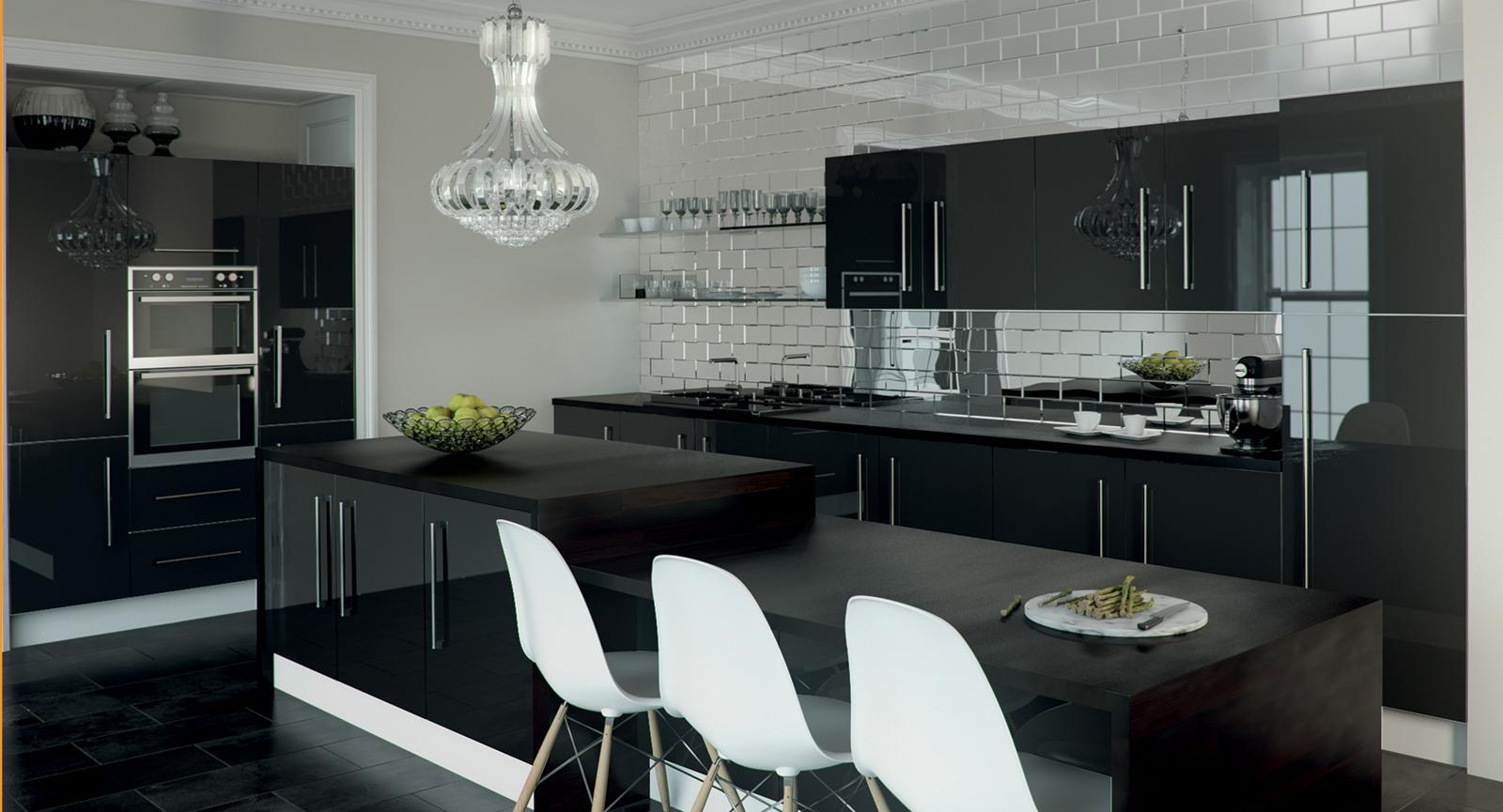 Designer gloss black kitchens unbeatable prices for Black gloss kitchen ideas