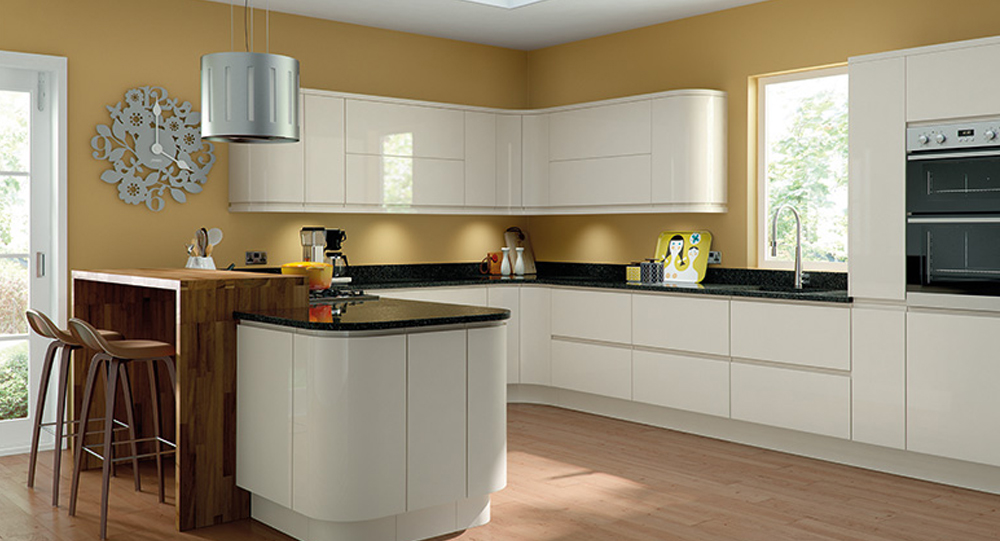 Gloss Cream Handle Less Kitchen