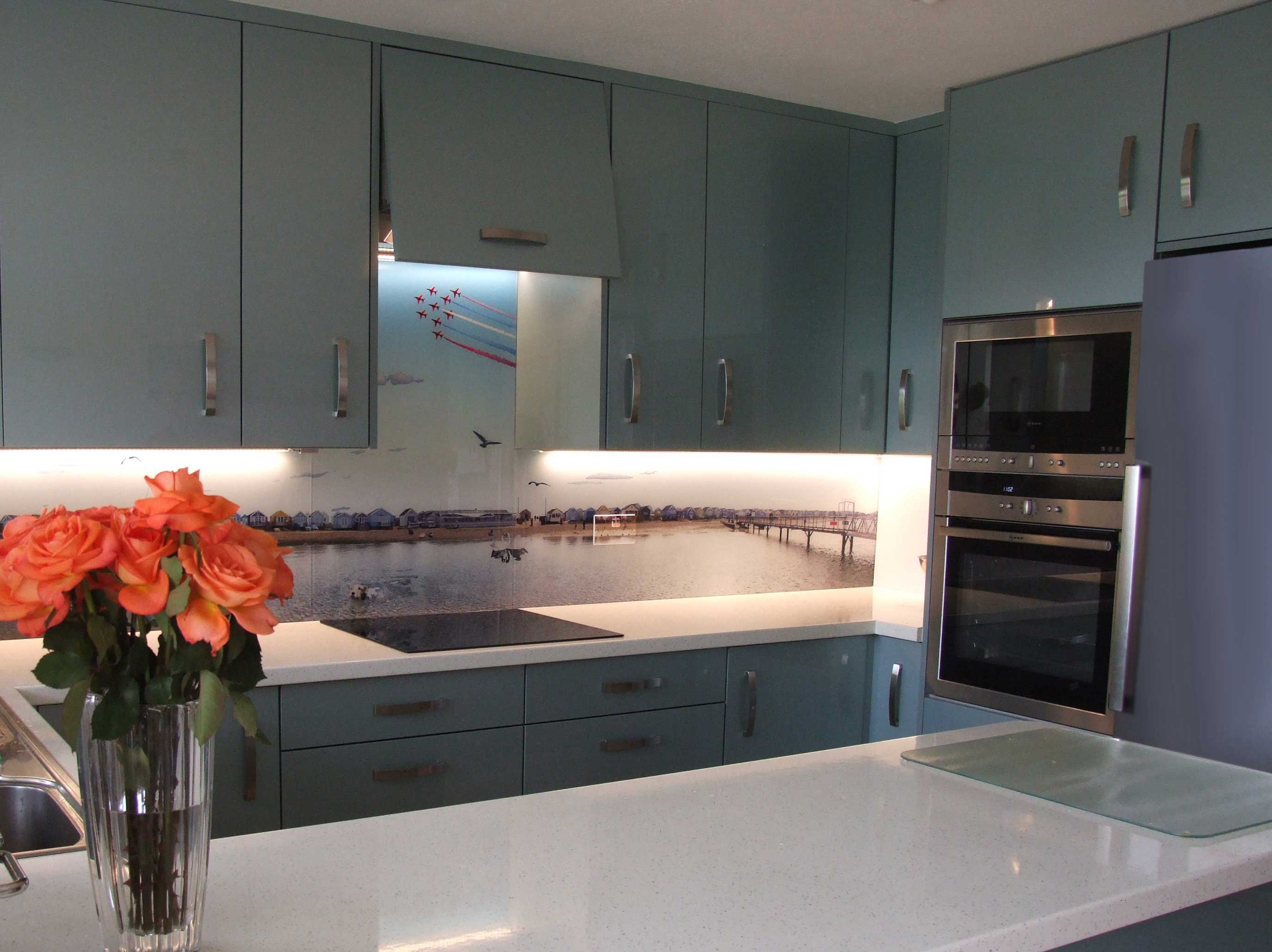 Ice Blue Kitchen With Bespoke Glass Splashback Hallmark Kitchen Designs