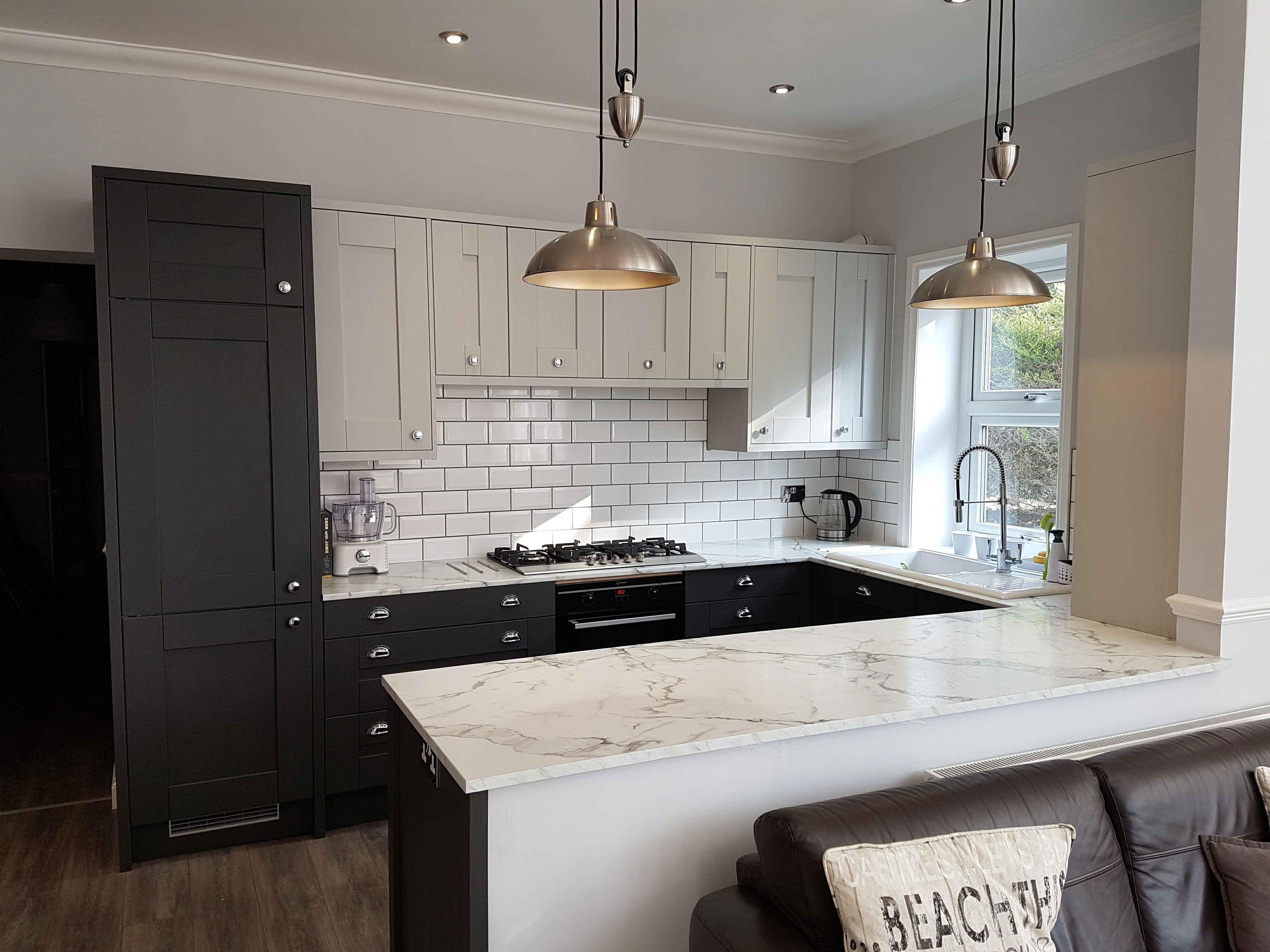 Modern grey shaker kitchen hallmark kitchen designs for Modern shaker kitchen