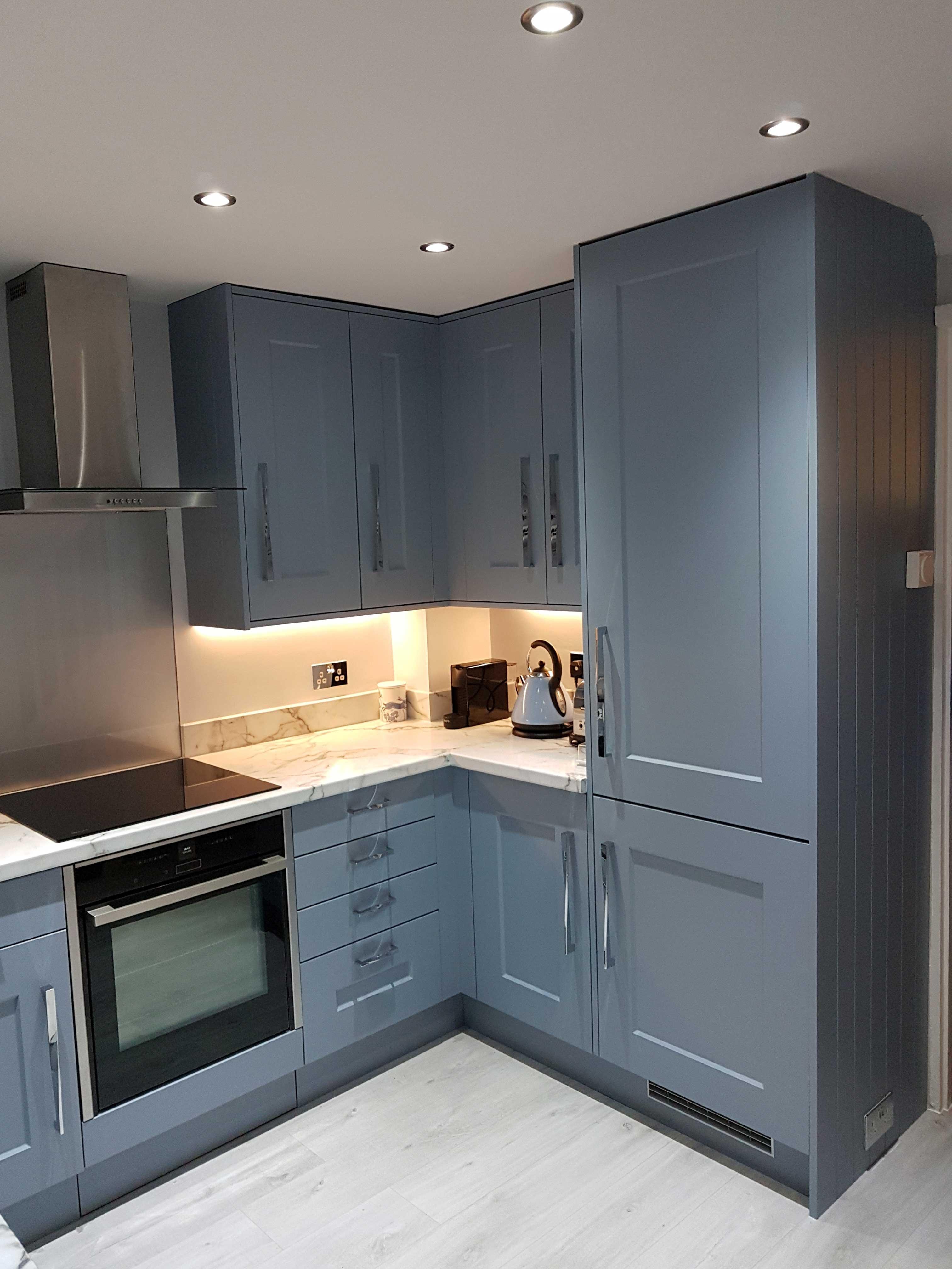 Blue Shaker Kitchen Installation Hallmark Kitchen Designs